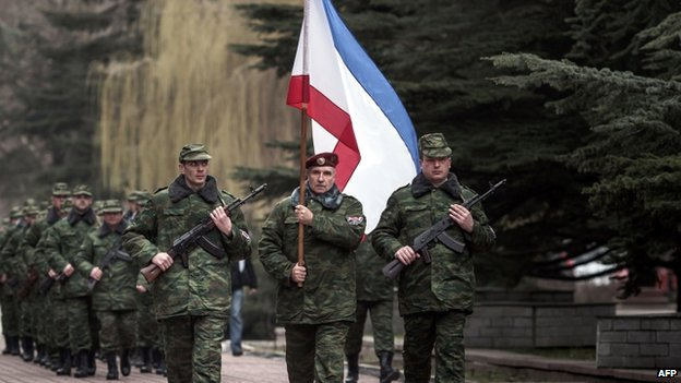 """New Crimean army"" parades in Simferopol. 8 March 2014"