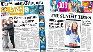 Composite image of front pages of Sunday Telegraph and Sunday Times on 09/03/14