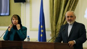 The EU foreign policy chief, Catherine Ashton, with Iranian Foreign Minister Mohammad Javad Zarif in Tehran, 9 March