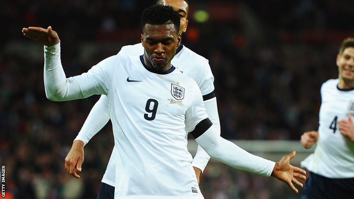 Daniel Sturridge celebrates his goal for England