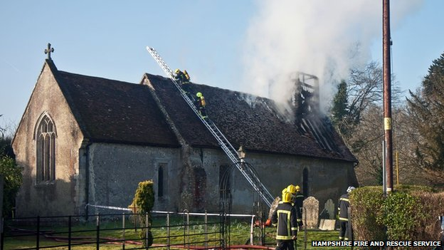 Fire at St Andrew's Church, Timsbury