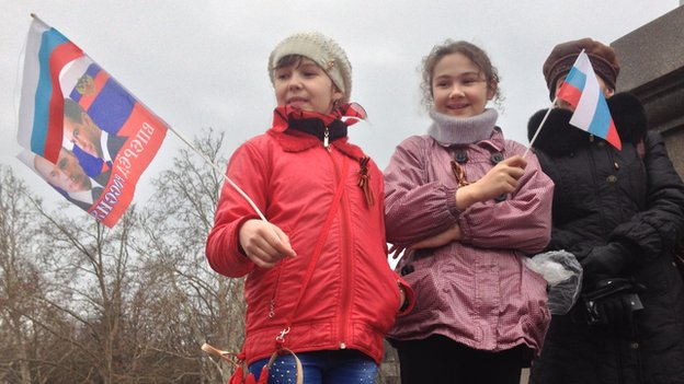 Pro-Russian supporters in Crimea