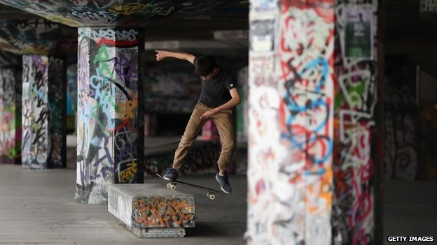 Skateboarder at Southbank skatepark