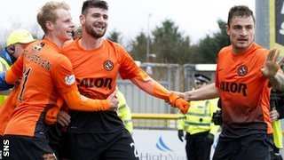Nadir Ciftci (centre) celebrates Dundee United's second goal against Inverness with Gary Mackay-Steven (left) and Paul Paton (right).