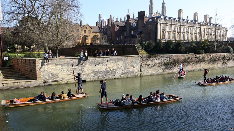 Punters on the River Cam in Cambridge