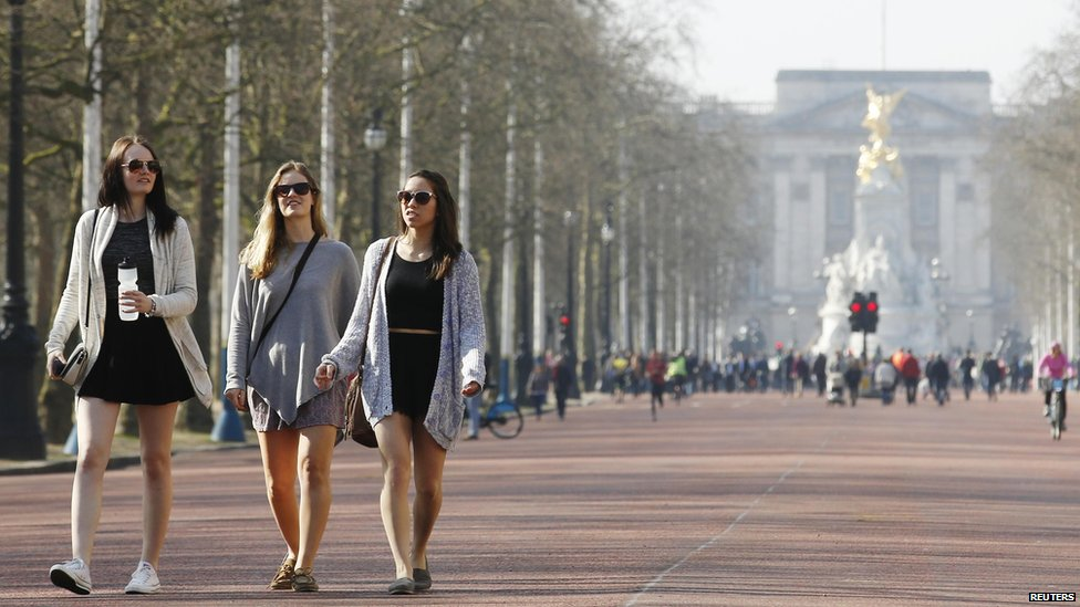 Women walking along The Mall, near Buckingham Palace