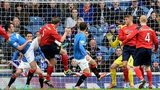Albion Rovers' Ciaran Donnelly scores against Rangers