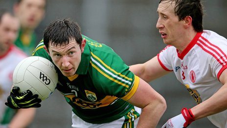 Kerry's Daithí Casey and Colm Cavanagh of Tyrone