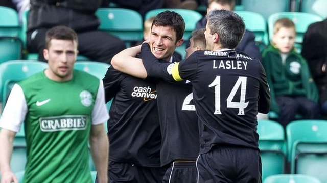John Sutton is congratulated after giving Motherwell the lead