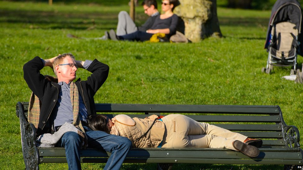 People in the sun on a bench in Hyde Park, central London