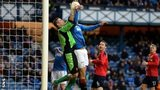 Albion Rovers players felt goalkeeper Neil Parry was fouled by Bilel Mohsni (right) in the lead up to Rangers' equaliser