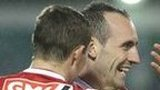 Mark Stewart celebrates scoring against Shamrock Rovers
