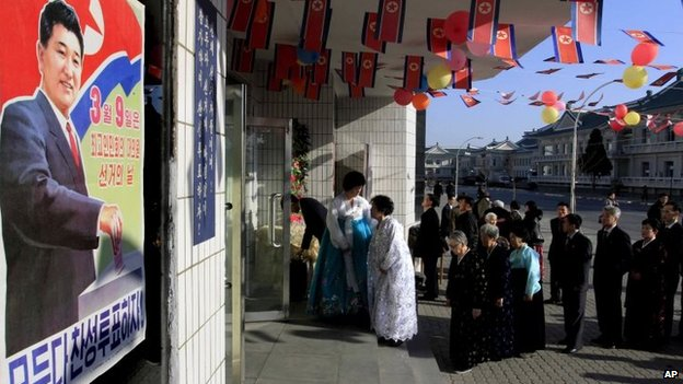 Voters line up to cast their ballots to elect deputies to the 13th Supreme People's Assembly in Pyongyang