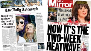 Composite image of the Daily Telegraph and Daily Mirror front pages - 10/03/14