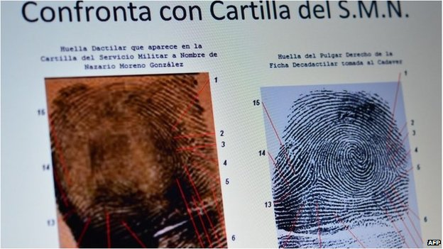Police image of fingerprints of Nazario Moreno