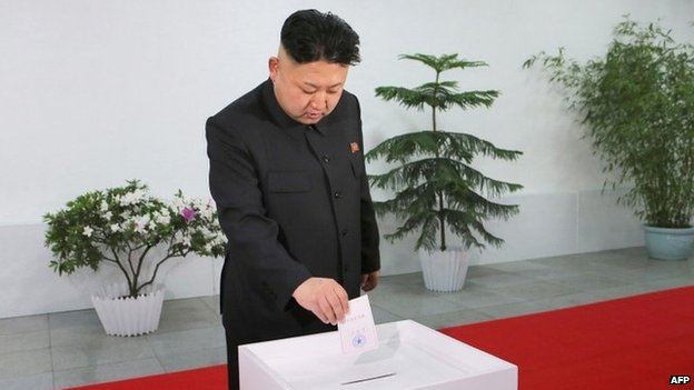 This photo dated 9 March 2014 and released by North Korea's official Korean Central News Agency (KCNA) on 10 March shows North Korean leader Kim Jong-un</body></html>