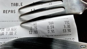 A picture taken on November 8, 2012 in a restaurant in Lille shows a fork and knife set up on a bill with the 19,60 percent value added tax (VAT)