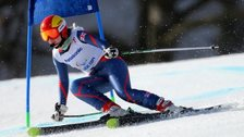 Kelly Gallagher competing in the  women's visually impaired super-G in Sochi