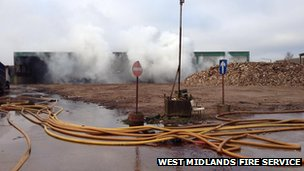 Fire at Tipton recycling centre