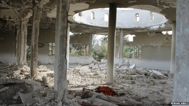 The inside of one of the mosques attacked by ISIS fighters