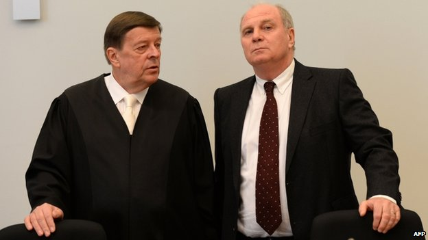 Uli Hoeness (R) with lawyer lawyer Hanns W Feigen