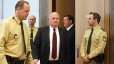 Bayern Munich President Uli Hoeness (centre) arrives for the start of his trial