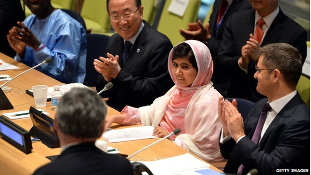 Gordon Brown and Ban Ki-Moon with Pakistani student Malala Yousafzai