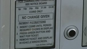 Close up of a parking meter