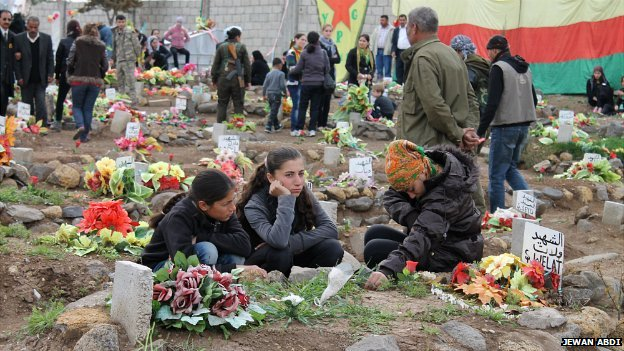 Children sit by a grave at a cemetery in the village of Ain al-Khadra