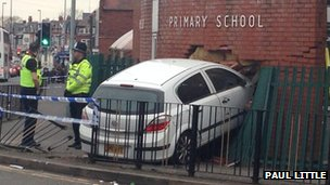 Vauxhall Astra which crashed in to a primary school