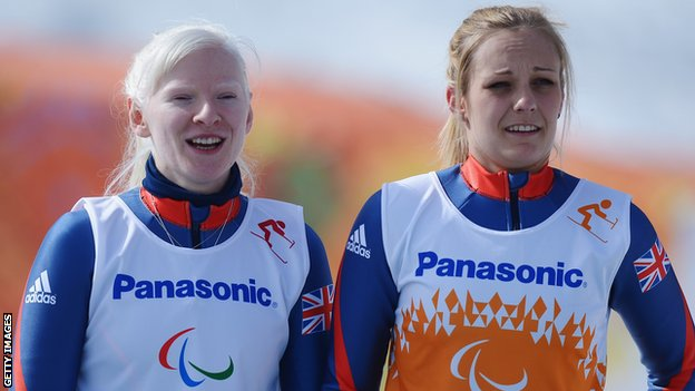 Kelly Gallagher (left) and Charlotte Evans after their gold-medal triumph on Monday