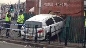 Car crashed into a wall