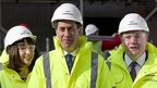 Ed Miliband (lcentre), Rachel Reeves (left) and Ed Balls (right) visit a building site in London