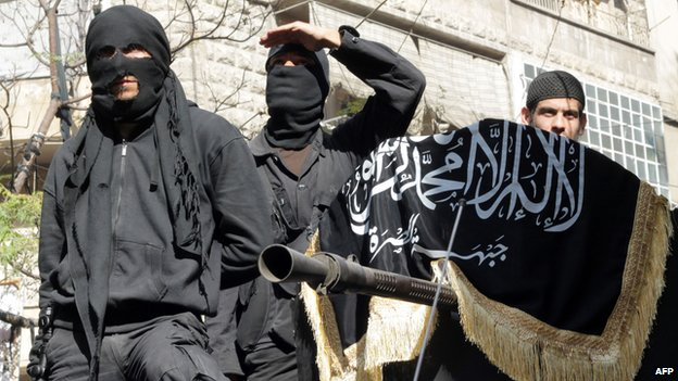 Members of jihadist group al-Nusra Front in Aleppo, Syria, 25 October 2013