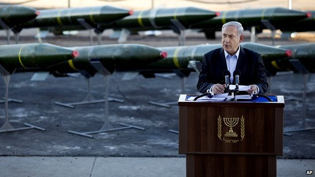 Prime Minister Netanyahu speaking at the unveiling of a shipment of weapons it seized in the Red Sea city of Eilat