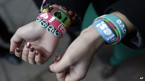Brianna Hawk displays bracelets on 20 February 2013