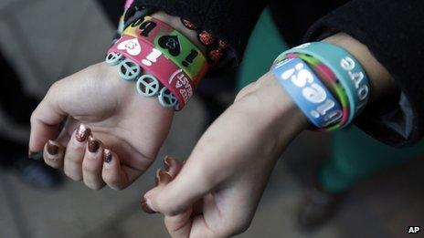 Brianna Hawk displays bracelets on 20 February 2013