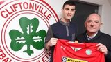 Johnny Flynn with Cliftonville manager Tommy Breslin