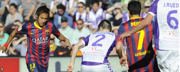 Neymar in action against Real Valladolid