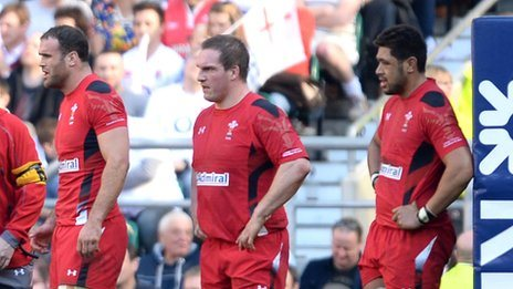 Dejected Wales players Jamie Roberts, Gethin Jenkins and Taulupe Faletau