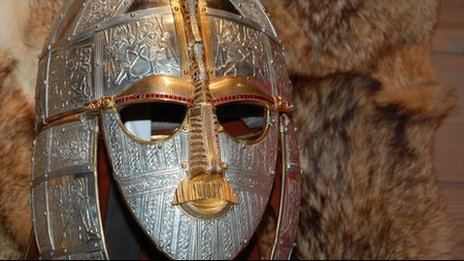 The replica Anglo-Saxon helmet at the Sutton Hoo visitor centre