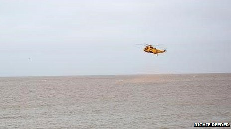 RAF Sea King helicopter taking part in the search