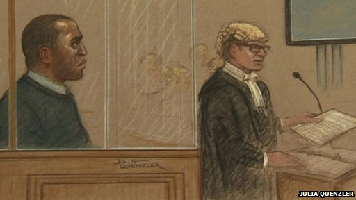 Nicholas Jacobs and Richard Whittam QC at the Old Bailey on the first day of his trial