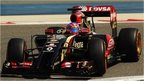 Lotus's Romain Grosjean takes part in testing in Bahrain