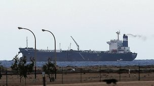 A North Korean-flagged tanker is docked at the Es Sider export terminal in Ras Lanuf on 8 March 2014.