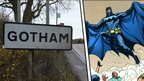 Gotham sign and Batman