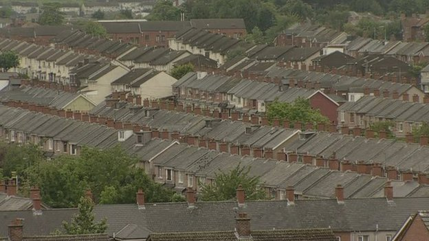 Aerial view of houses in Northern Ireland