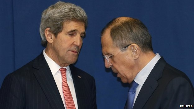 Russian Foreign Minister Sergei Lavrov (right) and US Secretary of State John Kerry (March 2014)