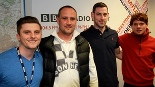 BBC Radio Derby's Owen Bradley (L-R) was joined on the Sportscene talk-in by summariser Craig Ramage, former Derby County and Burton Albion player Rory Delap, and Hollywood actor Jack O'Connell.