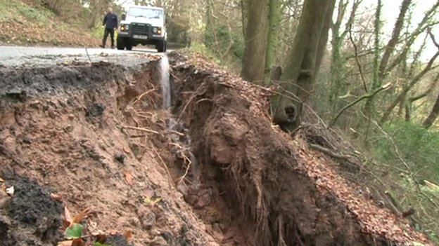 Landslip on Forest of Dean road